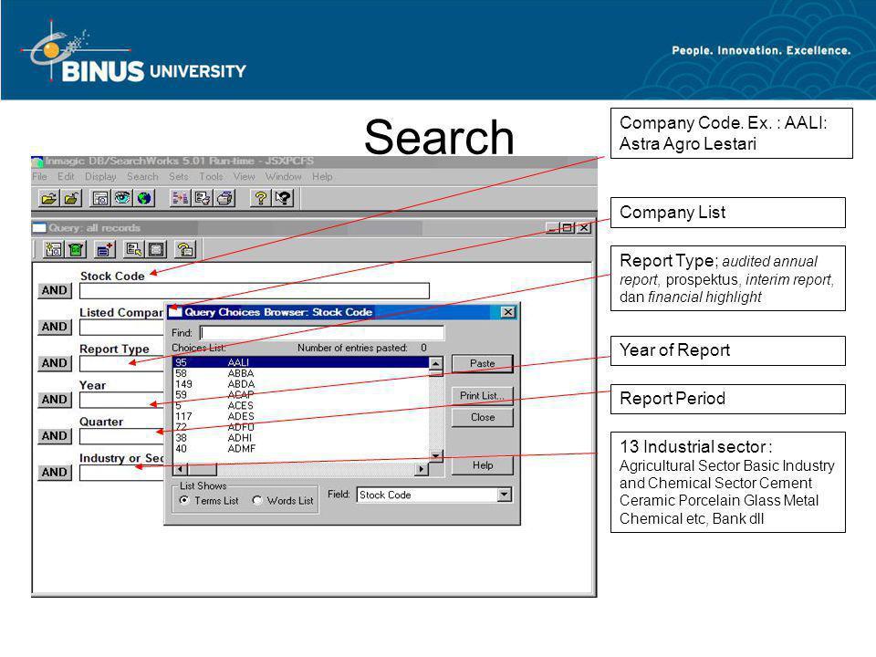 Search Company Code. Ex. : AALI: Astra Agro Lestari Company List Report Type; audited annual report, prospektus, interim report, dan financial highlig