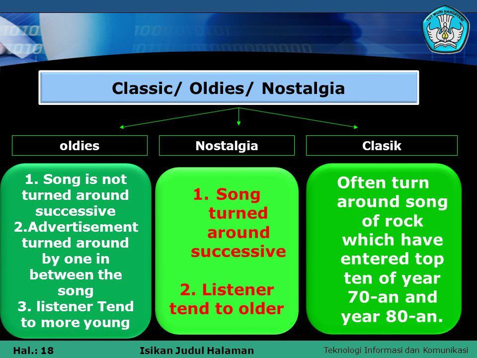 Teknologi Informasi dan Komunikasi Hal.: 18Isikan Judul Halaman Classic/ Oldies/ Nostalgia oldiesNostalgiaClasik 1.