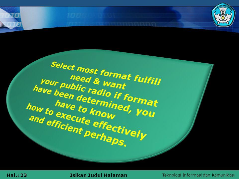 Teknologi Informasi dan Komunikasi Hal.: 23Isikan Judul Halaman
