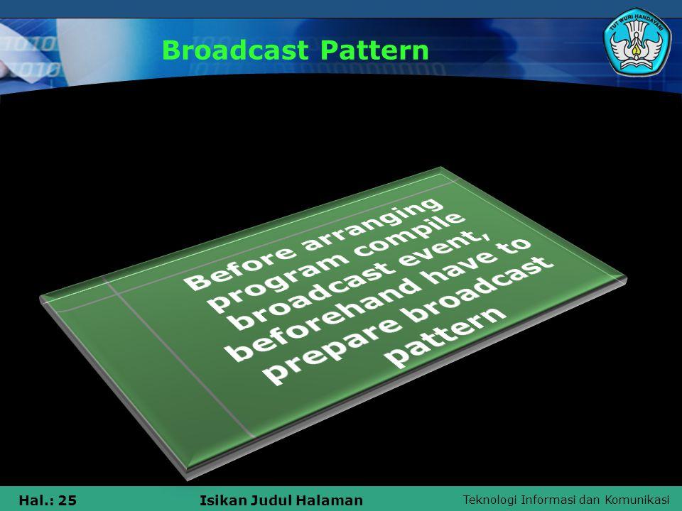 Teknologi Informasi dan Komunikasi Hal.: 25Isikan Judul Halaman Broadcast Pattern