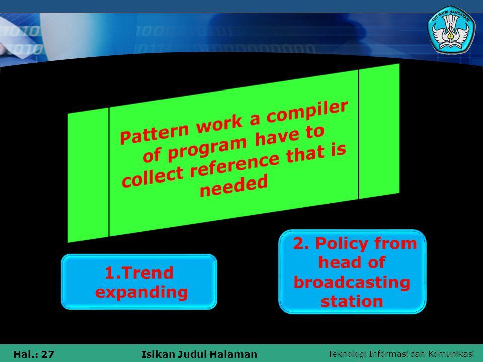 Teknologi Informasi dan Komunikasi Hal.: 27Isikan Judul Halaman 1.Trend expanding 2.
