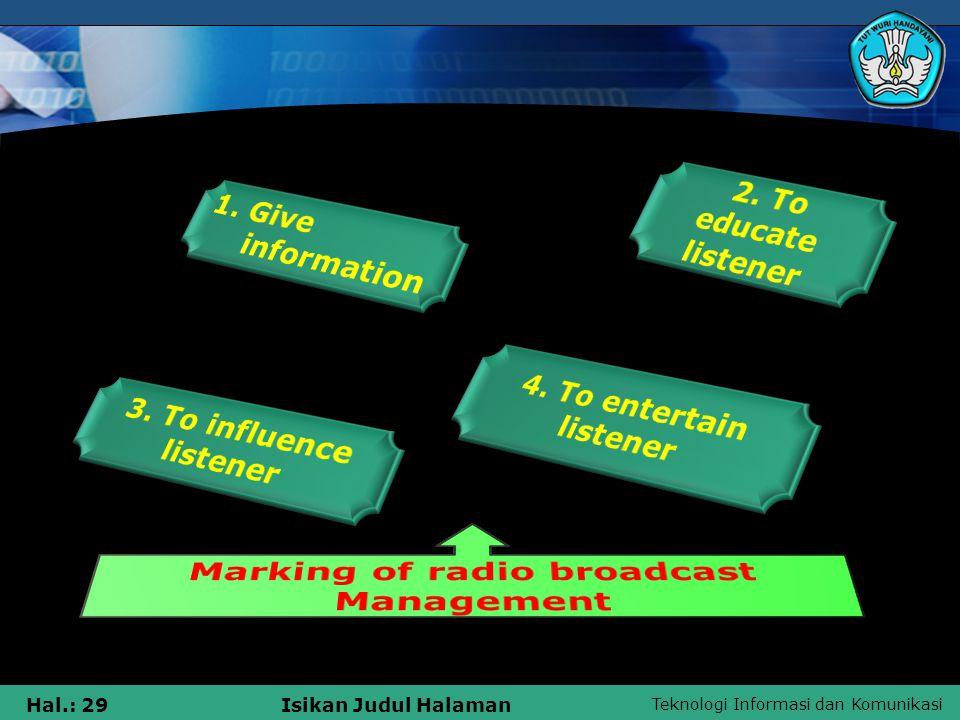 Teknologi Informasi dan Komunikasi Hal.: 29Isikan Judul Halaman