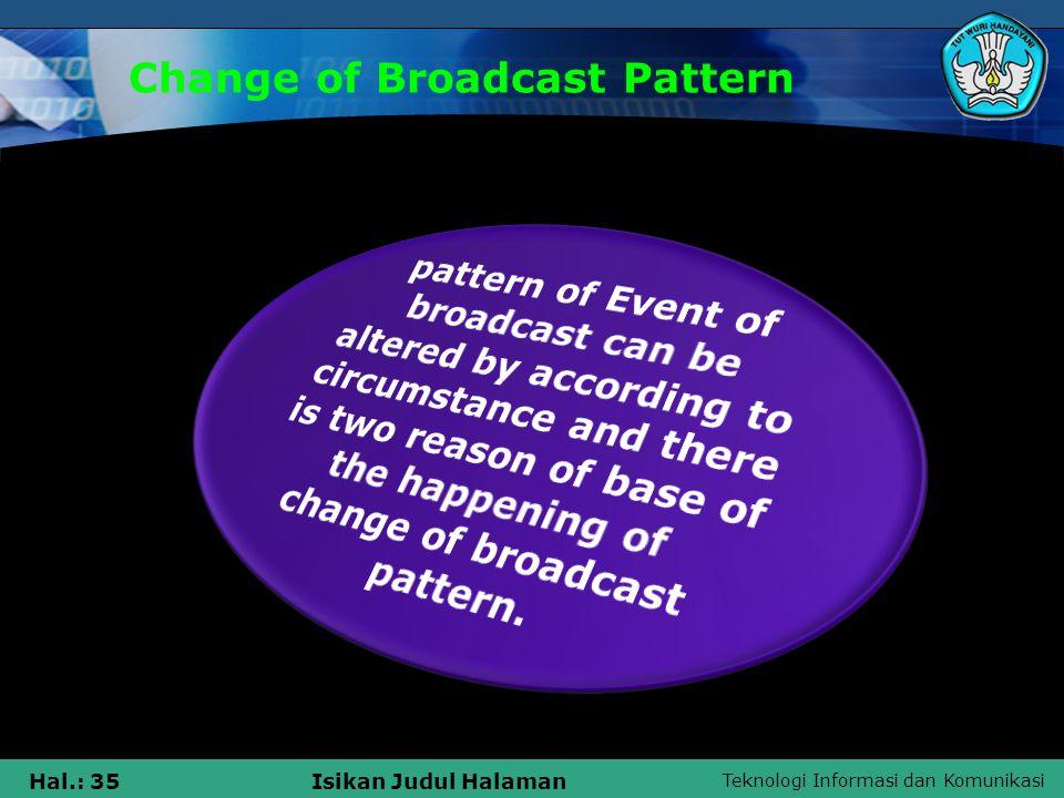 Teknologi Informasi dan Komunikasi Hal.: 35Isikan Judul Halaman Change of Broadcast Pattern