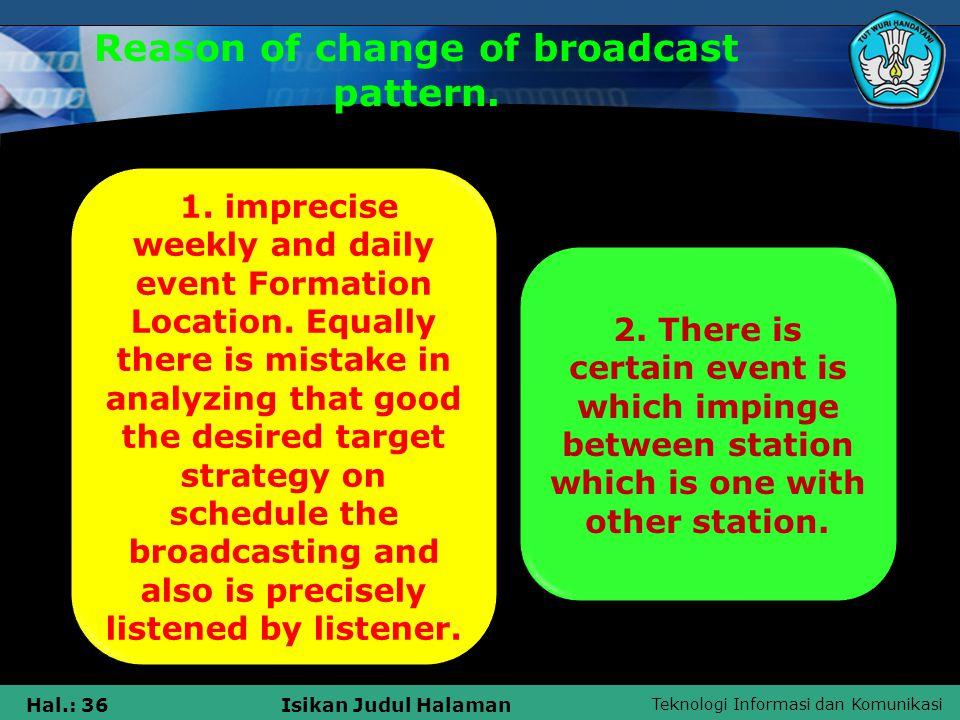 Teknologi Informasi dan Komunikasi Hal.: 36Isikan Judul Halaman Reason of change of broadcast pattern.