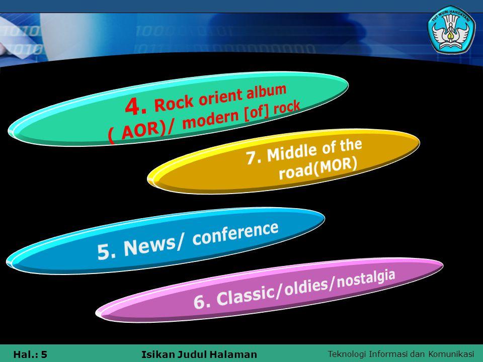 Teknologi Informasi dan Komunikasi Hal.: 5Isikan Judul Halaman