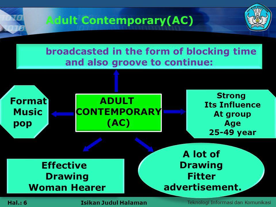 Teknologi Informasi dan Komunikasi Hal.: 6Isikan Judul Halaman Adult Contemporary(AC) ADULT CONTEMPORARY (AC) ADULT CONTEMPORARY (AC) A lot of Drawing Fitter advertisement.