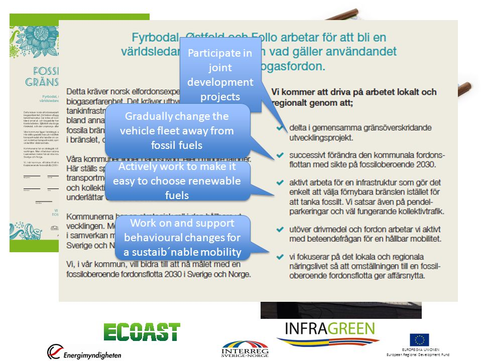 EUROPEISKA UNIONEN European Regional Development Fund Participate in joint development projects Gradually change the vehicle fleet away from fossil fuels Actively work to make it easy to choose renewable fuels Work on and support behavioural changes for a sustaib´nable mobility
