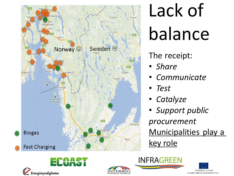 EUROPEISKA UNIONEN European Regional Development Fund Lack of balance Norway  Sweden  The receipt: • Share • Communicate • Test • Catalyze • Support public procurement Municipalities play a key role Biogas Fast Charging