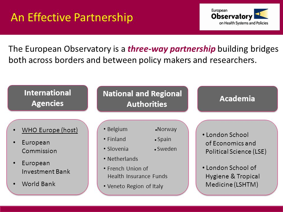 An Effective Partnership The European Observatory is a three-way partnership building bridges both across borders and between policy makers and researchers.