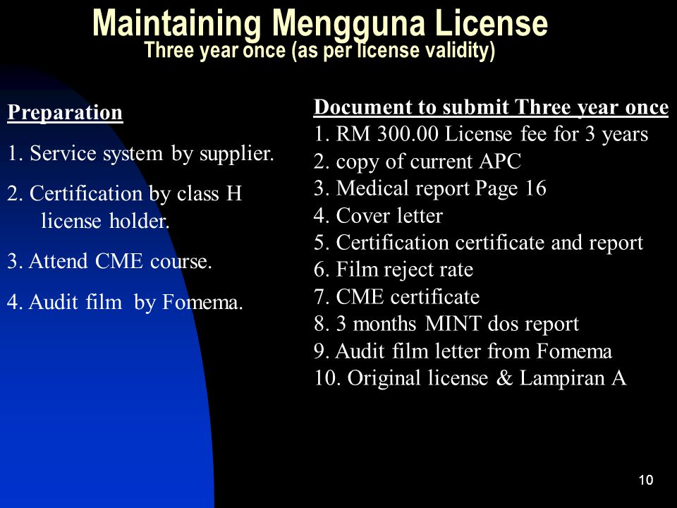 10 Maintaining Mengguna License Three year once (as per license validity) Preparation 1. Service system by supplier. 2. Certification by class H licen