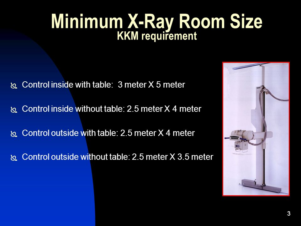 3 Minimum X-Ray Room Size KKM requirement  Control inside with table: 3 meter X 5 meter  Control inside without table: 2.5 meter X 4 meter  Control