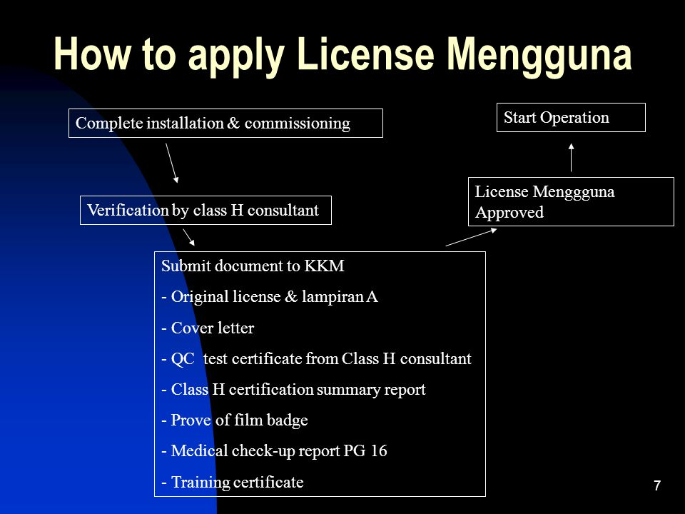 7 How to apply License Mengguna Complete installation & commissioning Verification by class H consultant Submit document to KKM - Original license & l