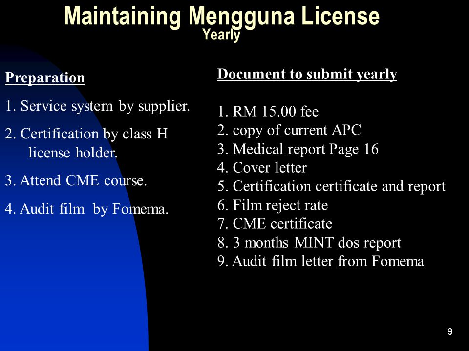 10 Maintaining Mengguna License Three year once (as per license validity) Preparation 1.