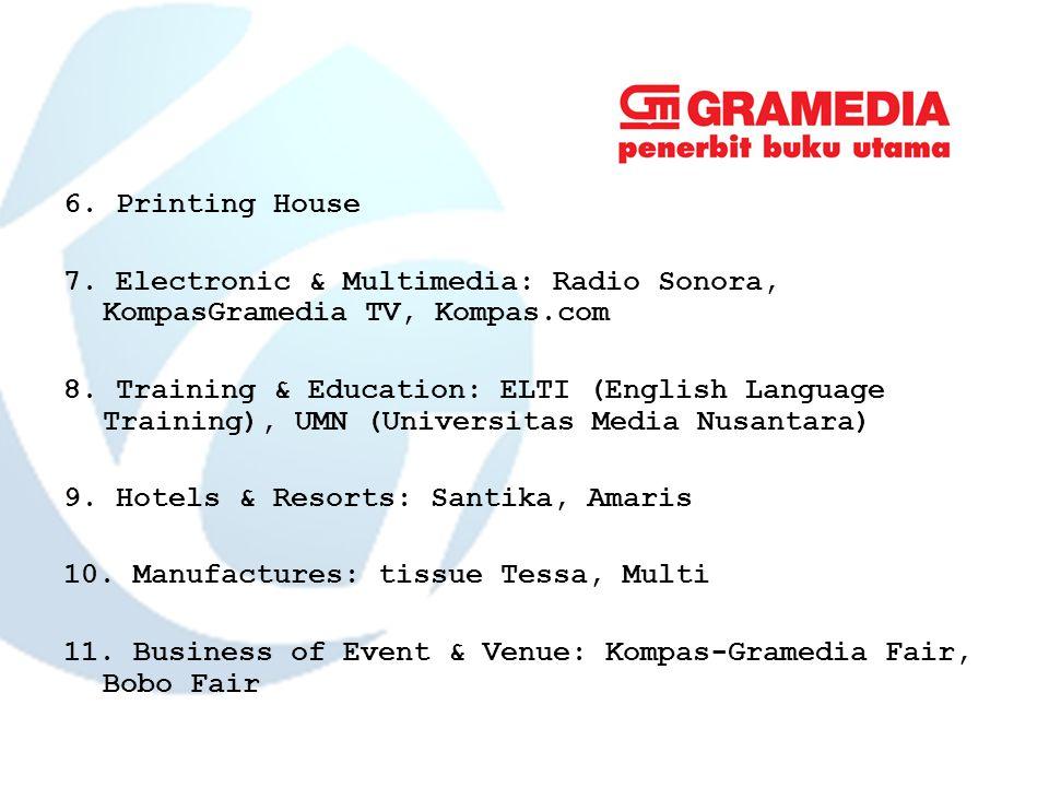 6. Printing House 7. Electronic & Multimedia: Radio Sonora, KompasGramedia TV, Kompas.com 8.
