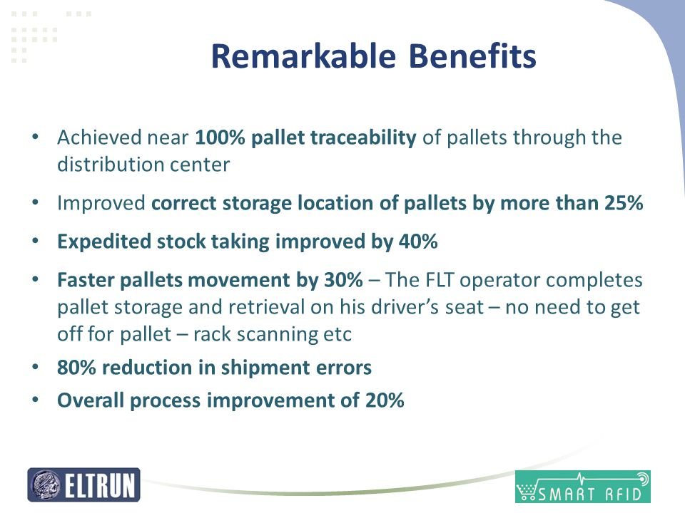 Remarkable Benefits • Achieved near 100% pallet traceability of pallets through the distribution center • Improved correct storage location of pallets