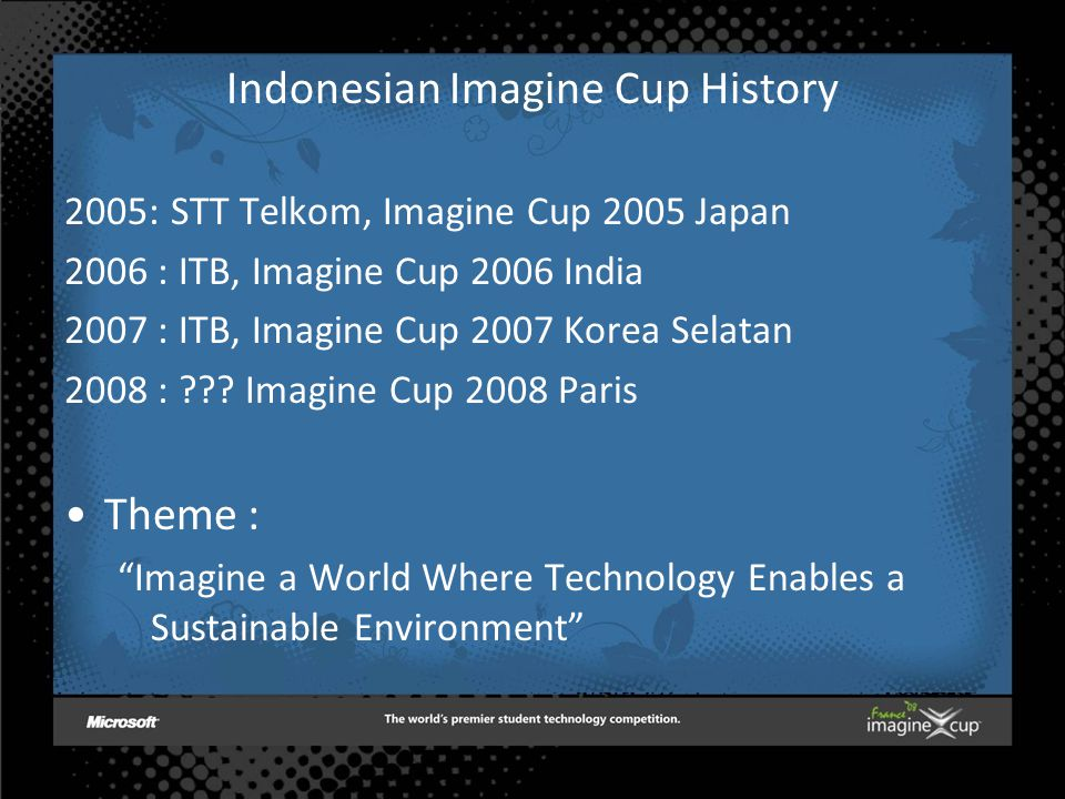 Indonesian Imagine Cup History 2005:STT Telkom, Imagine Cup 2005 Japan 2006 : ITB, Imagine Cup 2006 India 2007 : ITB, Imagine Cup 2007 Korea Selatan 2008 : ??.