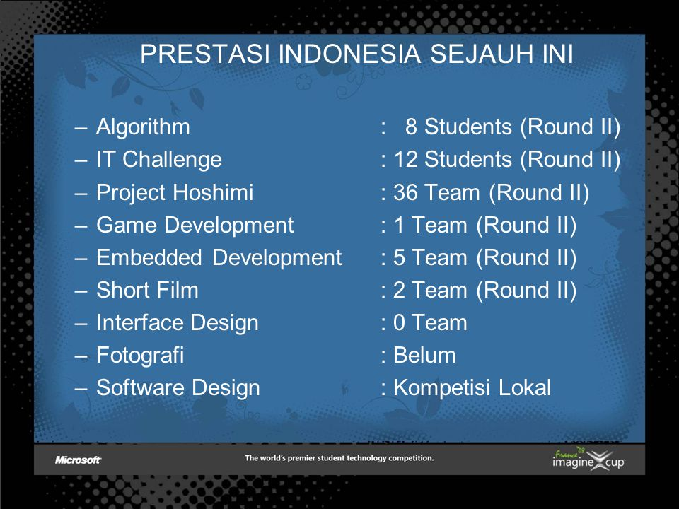 PRESTASI INDONESIA SEJAUH INI –Algorithm : 8 Students (Round II) –IT Challenge : 12 Students (Round II) –Project Hoshimi : 36 Team (Round II) –Game Development : 1 Team (Round II) –Embedded Development : 5 Team (Round II) –Short Film: 2 Team (Round II) –Interface Design: 0 Team –Fotografi: Belum –Software Design: Kompetisi Lokal