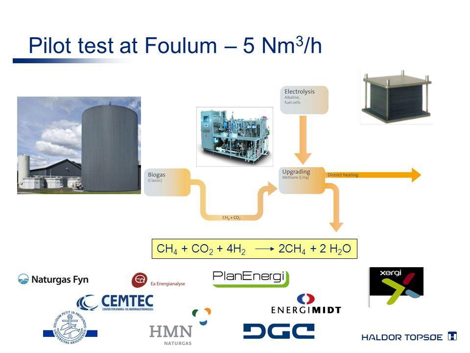 Pilot test at Foulum – 5 Nm 3 /h CH 4 + CO 2 + 4H 2 2CH 4 + 2 H 2 O