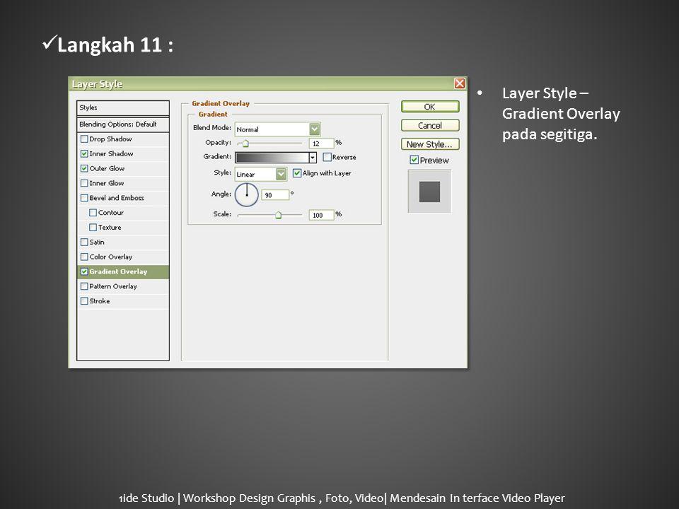  Langkah 11 : • Layer Style – Gradient Overlay pada segitiga.