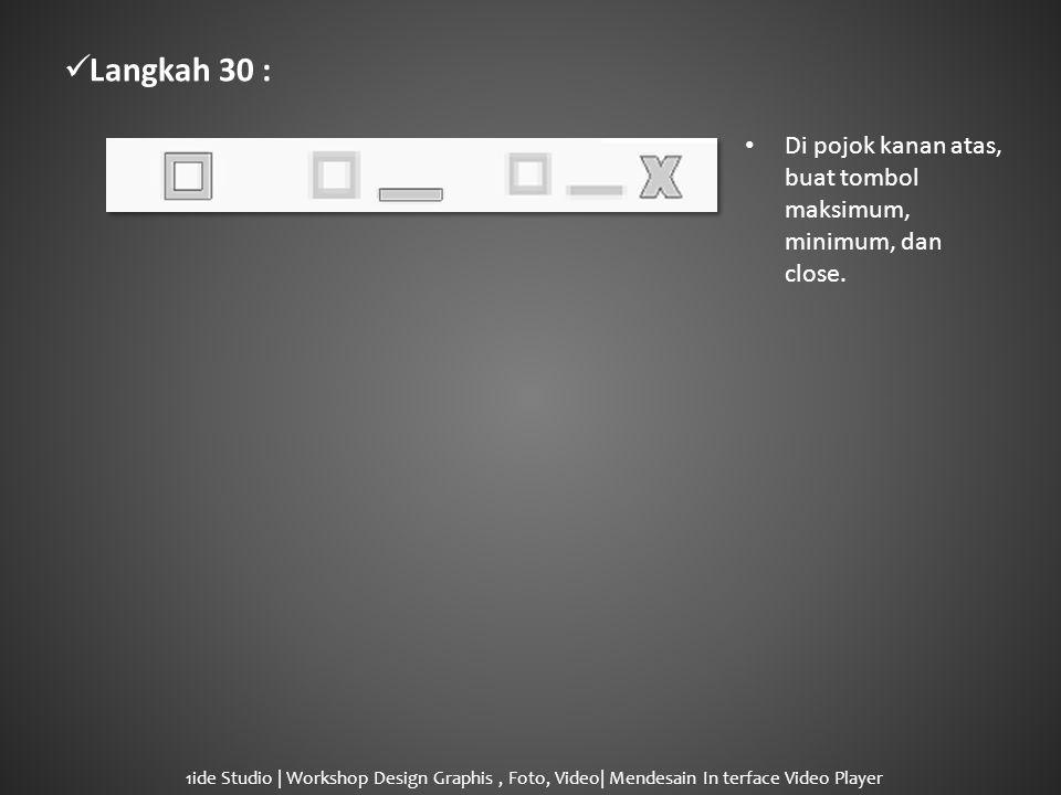  Langkah 30 : • Di pojok kanan atas, buat tombol maksimum, minimum, dan close.