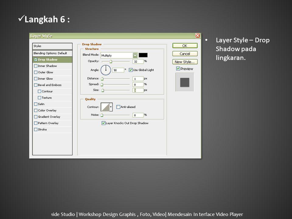  Langkah 7 : • Layer Style – Gradient Overlay pada lingkaran.