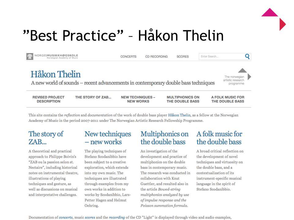 0 Program for kunstnerisk utviklingsarbeid Best Practice – Håkon Thelin