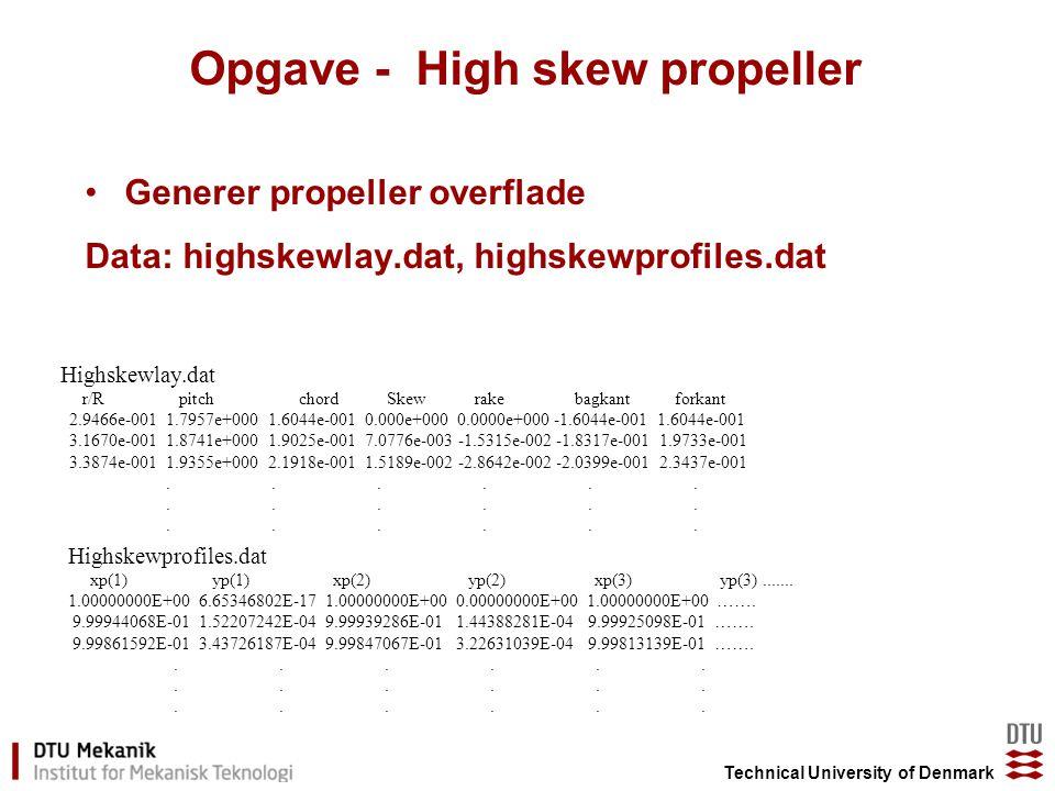 Technical University of Denmark Opgave - High skew propeller Highskewlay.dat r/R pitch chord Skew rake bagkant forkant 2.9466e-001 1.7957e+000 1.6044e