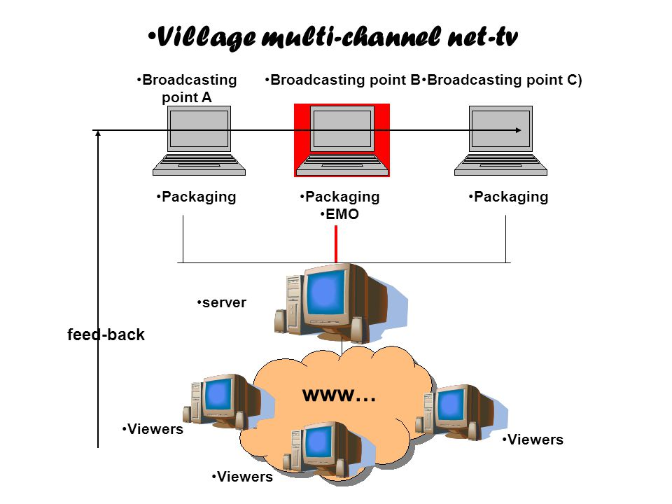 •Packaging •EMO www… •server •Viewers •Broadcasting point A •Broadcasting point C)•Broadcasting point B •Village multi-channel net-tv feed-back