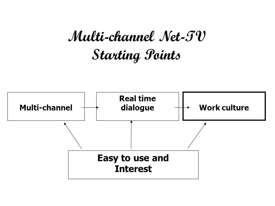 Multi-channel Real time dialogue Work culture Easy to use and Interest Multi-channel Net-TV Starting Points