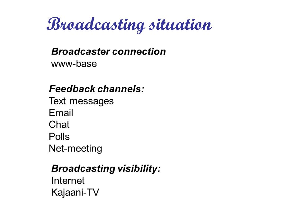 Broadcasting situation Feedback channels: Text messages Email Chat Polls Net-meeting Broadcasting visibility: Internet Kajaani-TV Broadcaster connection www-base