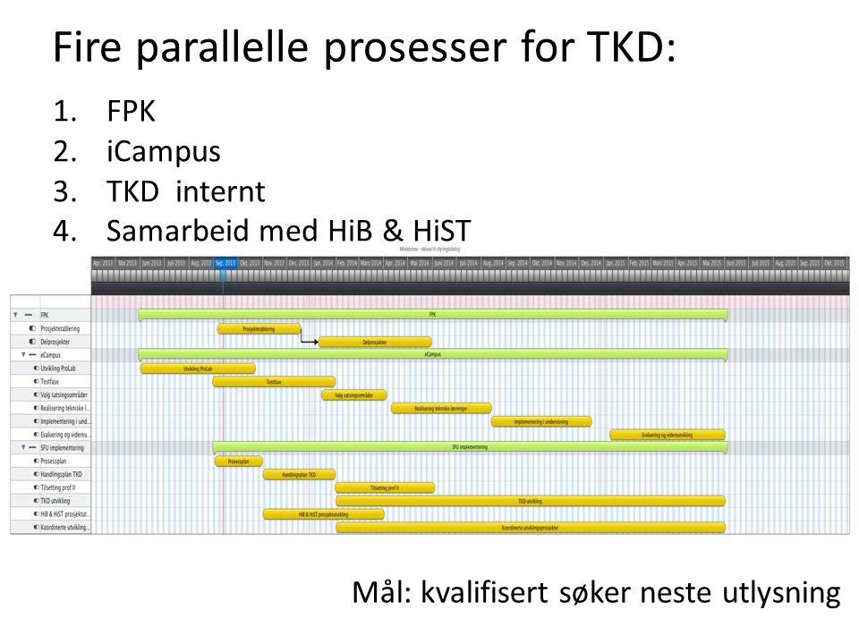 Fire parallelle prosesser for TKD: 1.FPK 2.iCampus 3.TKD internt 4.Samarbeid med HiB & HiST Mål: kvalifisert søker neste utlysning