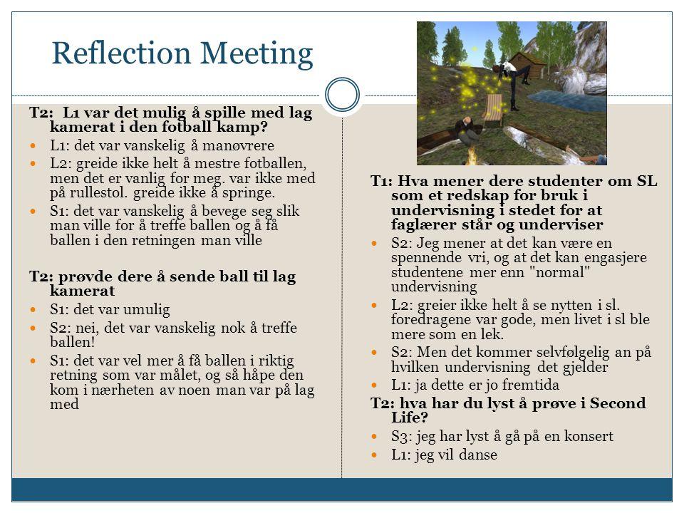 Reflection Meeting T2: L1 var det mulig å spille med lag kamerat i den fotball kamp?  L1: det var vanskelig å manøvrere  L2: greide ikke helt å mest
