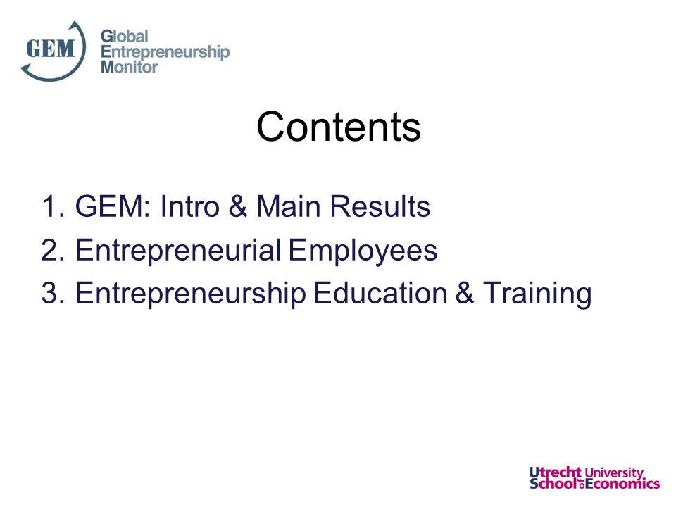 Gain from Training in Early- Stage Entrepreneurial Activity