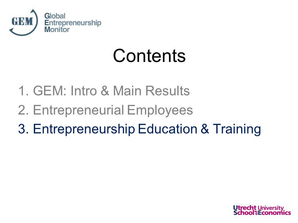 1.GEM: Intro & Main Results 2.Entrepreneurial Employees 3.Entrepreneurship Education & Training Contents