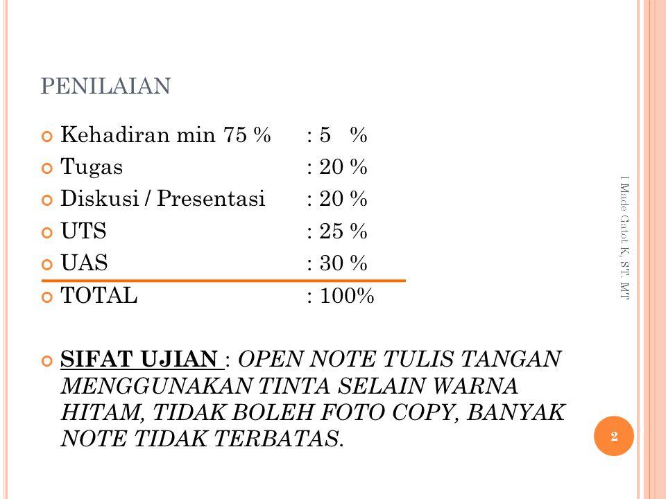PENILAIAN Kehadiran min 75 % : 5 % Tugas: 20 % Diskusi / Presentasi: 20 % UTS: 25 % UAS: 30 % TOTAL: 100% SIFAT UJIAN : OPEN NOTE TULIS TANGAN MENGGUN