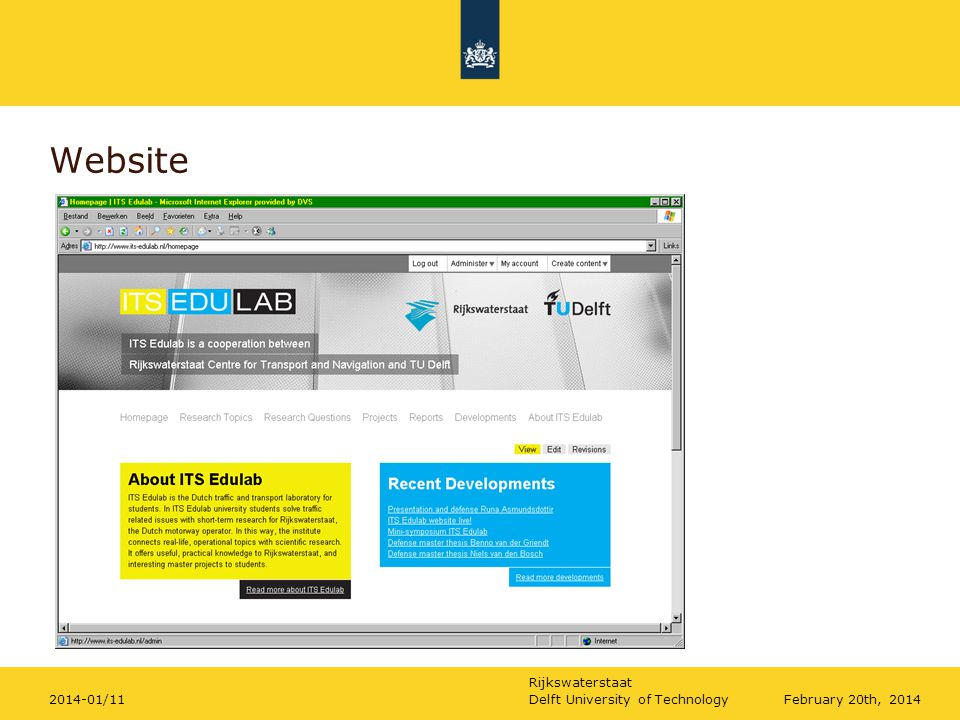 Rijkswaterstaat Website February 20th, 2014Delft University of Technology2014-01/11