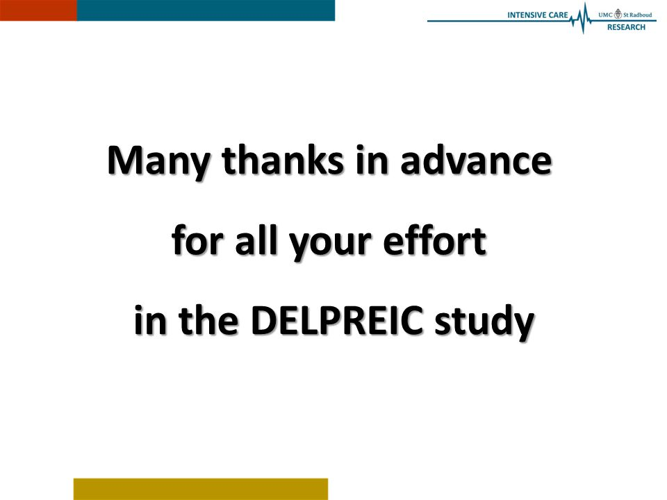 Many thanks in advance for all your effort in the DELPREIC study