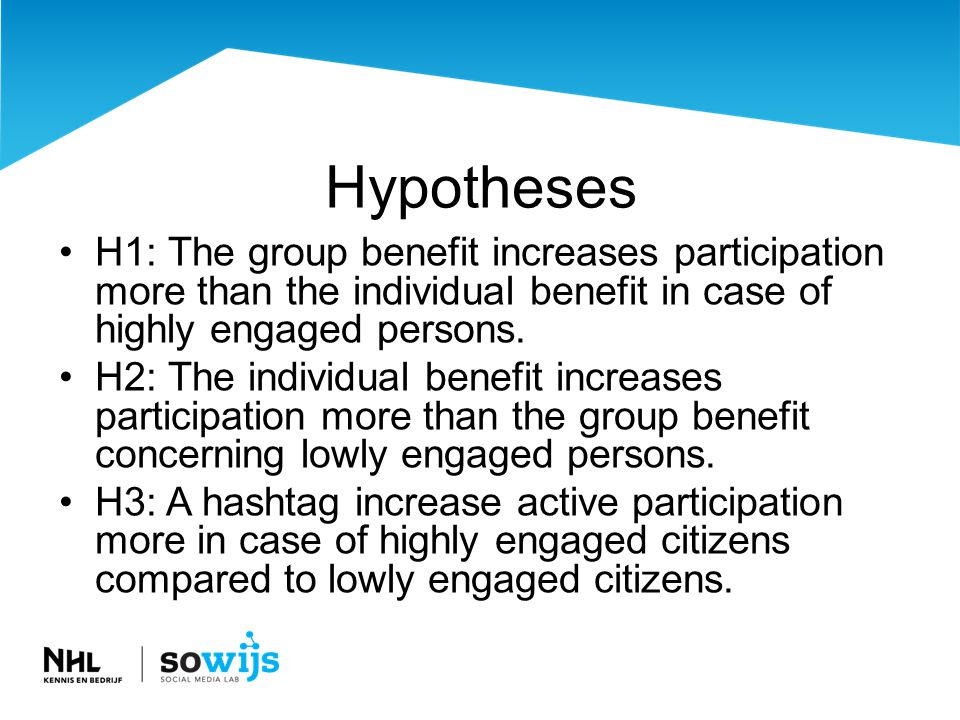 Hypotheses •H1: The group benefit increases participation more than the individual benefit in case of highly engaged persons.