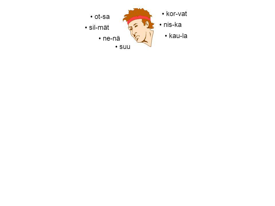 • sil-mät • kor-vat • suu • ne-nä • kau-la • ot-sa • nis-ka