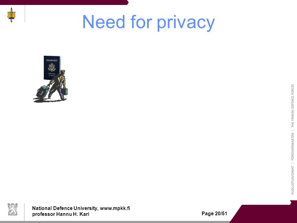 National Defence University, www.mpkk.fi professor Hannu H. Kari Page 20/51 Need for privacy