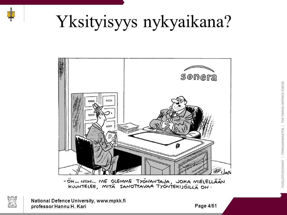 National Defence University, www.mpkk.fi professor Hannu H. Kari Page 4/51 Yksityisyys nykyaikana