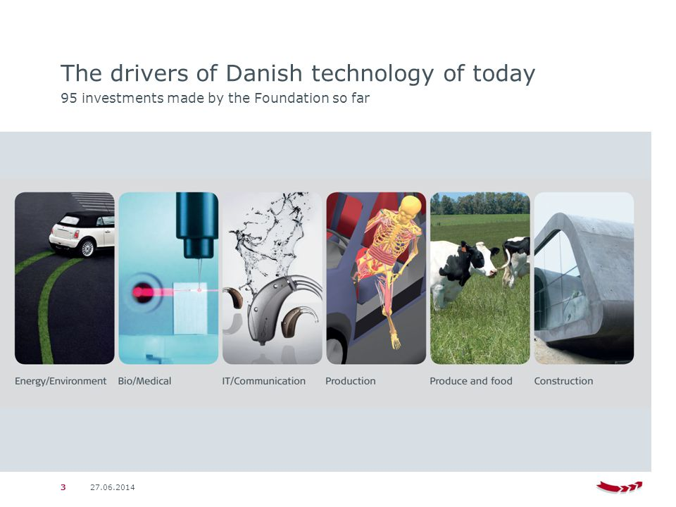 27.06.20143 The drivers of Danish technology of today 95 investments made by the Foundation so far