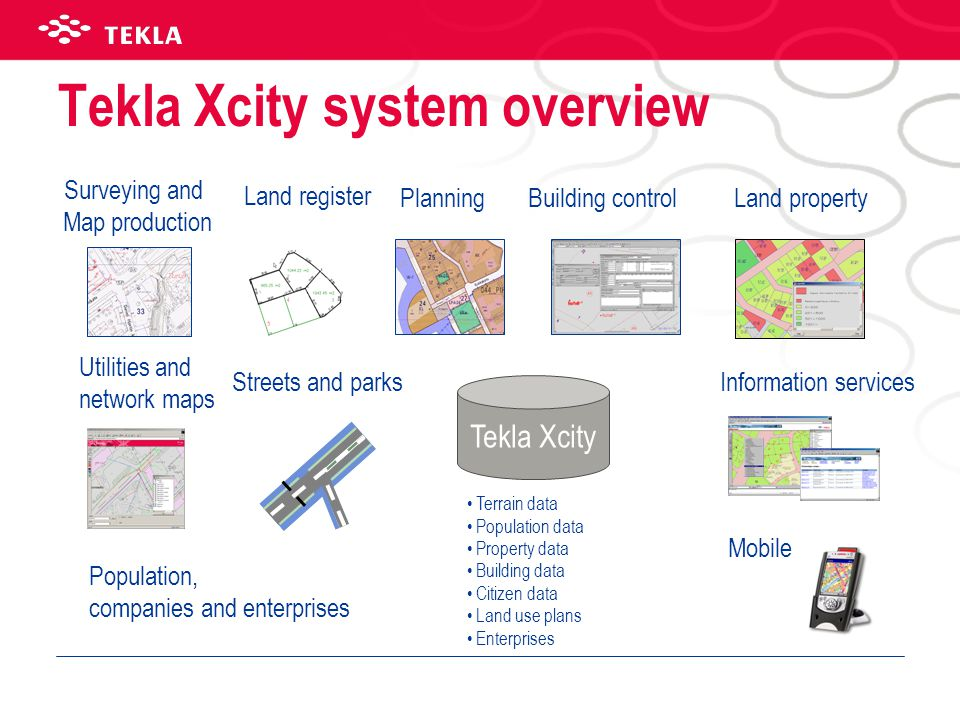 Tekla Xcity system overview Surveying and Map production PlanningBuilding control Information services Tekla Xcity Land register •Terrain data •Population data •Property data •Building data •Citizen data •Land use plans •Enterprises Land property Utilities and network maps Streets and parks Mobile Population, companies and enterprises