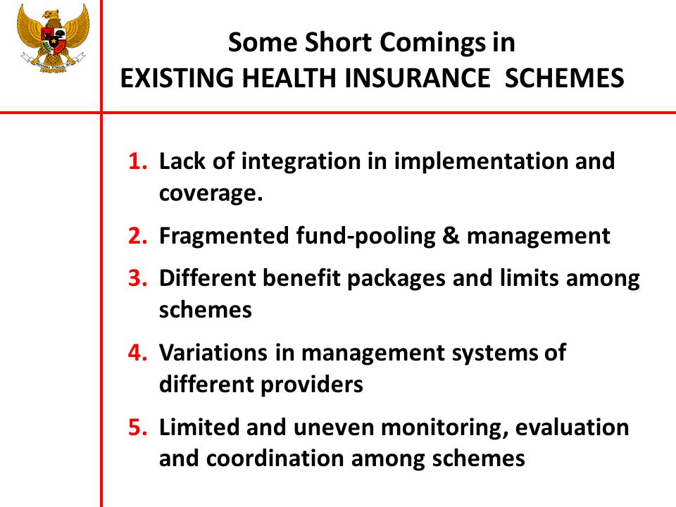 Some Short Comings in EXISTING HEALTH INSURANCE SCHEMES 1.Lack of integration in implementation and coverage. 2.Fragmented fund-pooling & management 3