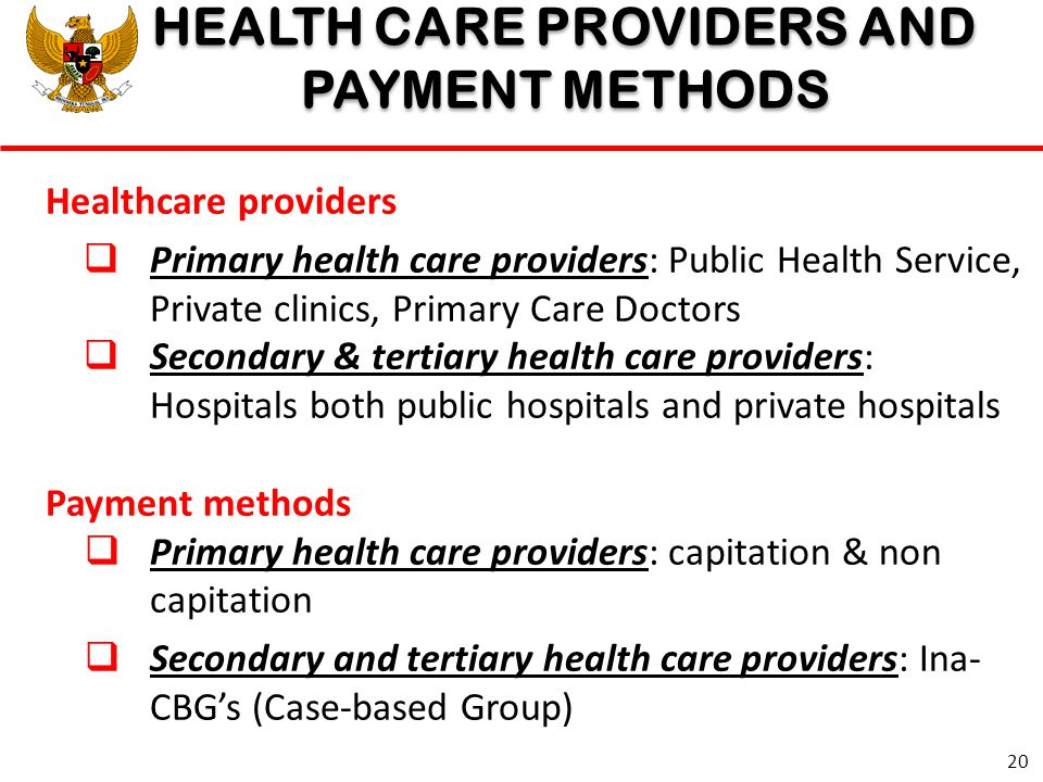 HEALTH CARE PROVIDERS AND PAYMENT METHODS HEALTH CARE PROVIDERS AND PAYMENT METHODS Healthcare providers  Primary health care providers: Public Healt