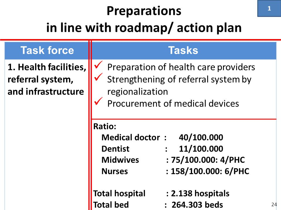 Preparations in line with roadmap/ action plan Task forceTasks 1. Health facilities, referral system, and infrastructure  Preparation of health care