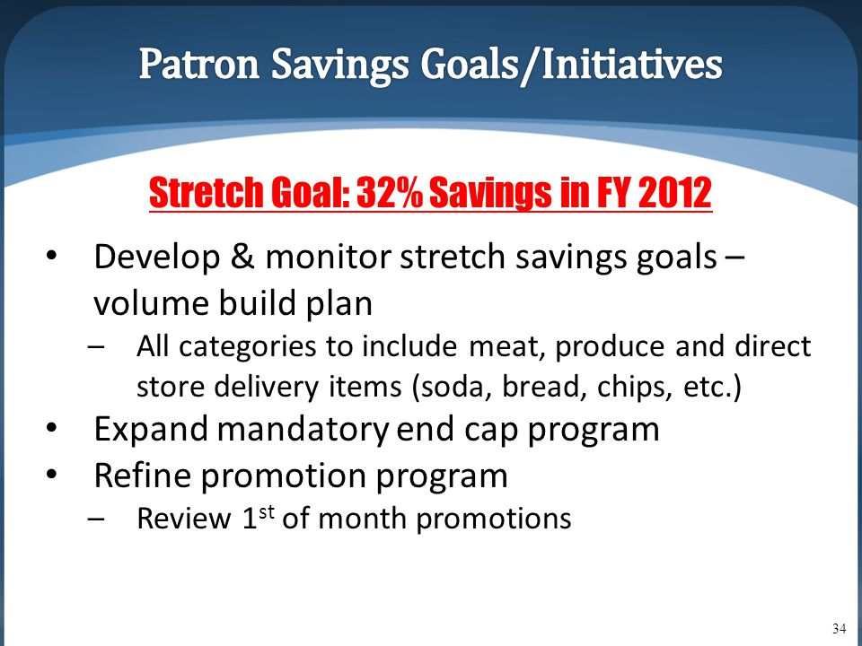 34 Stretch Goal: 32% Savings in FY 2012 • Develop & monitor stretch savings goals – volume build plan –All categories to include meat, produce and direct store delivery items (soda, bread, chips, etc.) • Expand mandatory end cap program • Refine promotion program –Review 1 st of month promotions