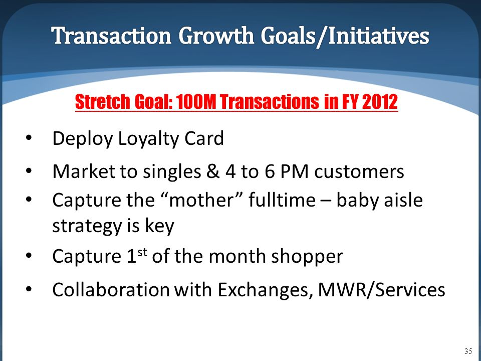 "35 Stretch Goal: 100M Transactions in FY 2012 • Deploy Loyalty Card • Market to singles & 4 to 6 PM customers • Capture the ""mother"" fulltime – baby a"