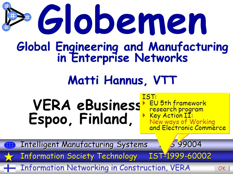 IMS GLOBEMEN / FIN-1-6 Sep 2000 Matti Hannus VTT VERA eBusiness seminar Espoo, Finland, 6.9.2000 Globemen Global Engineering and Manufacturing in Enterprise Networks Matti Hannus, VTT Information Networking in Construction, VERA Information Society Technology IST-1999-60002 Intelligent Manufacturing Systems IMS 99004 OK IMS:  Global industrial research program Au + Ca + Ch + EU + Jp + US IMS:  Global industrial research program Au + Ca + Ch + EU + Jp + US IST:  EU 5th framework research program  Key Action II: New ways of Working and Electronic Commerce IST:  EU 5th framework research program  Key Action II: New ways of Working and Electronic Commerce