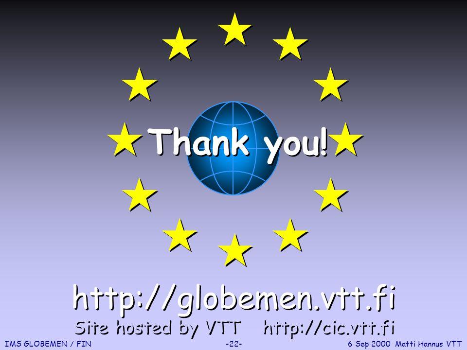 IMS GLOBEMEN / FIN-22-6 Sep 2000 Matti Hannus VTT Thank you.